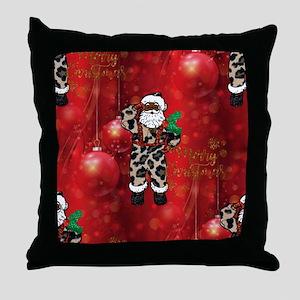 african leopard santa Throw Pillow