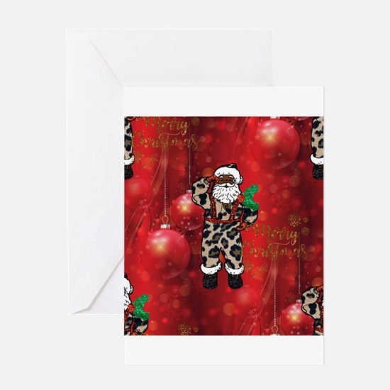 african leopard santa Greeting Cards