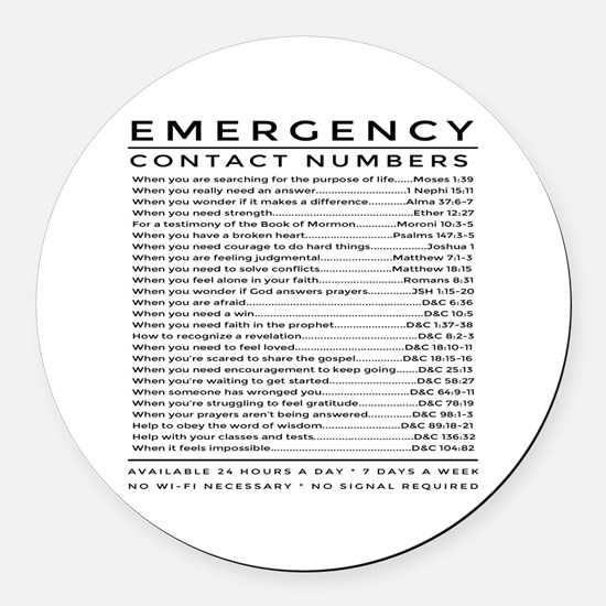bible emergency number Round Car Magnet