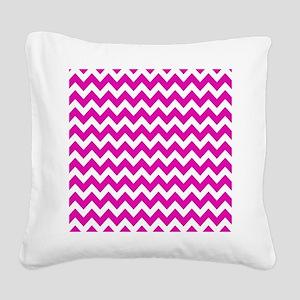 Hot Pink Chevron Pattern Square Canvas Pillow