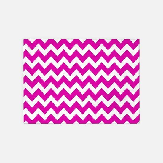 Hot Pink Chevron Pattern 5'x7'Area Rug