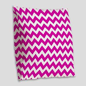 Hot Pink Chevron Pattern Burlap Throw Pillow