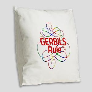 Gerbils Rule Burlap Throw Pillow