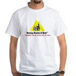 Warning: Novelist at Work White T-Shirt