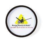 Warning: Novelist at Work Wall Clock