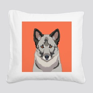 Norwegian Elkhound Square Canvas Pillow