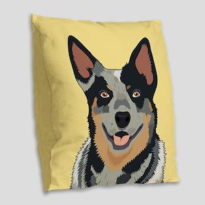 Australian Cattle Dog Burlap Throw Pillow