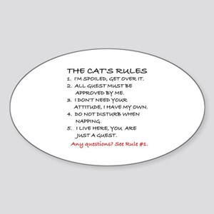 THE CAT'S RULES Sticker (Oval)