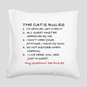 THE CAT'S RULES Square Canvas Pillow