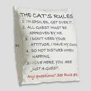 THE CAT'S RULES Burlap Throw Pillow