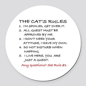 THE CAT'S RULES Round Car Magnet