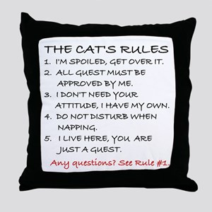 THE CAT'S RULES Throw Pillow