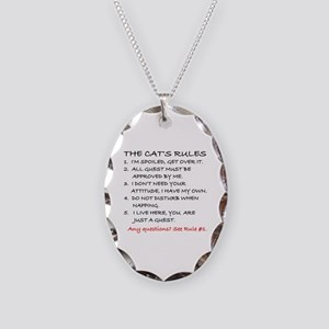 THE CAT'S RULES Necklace Oval Charm