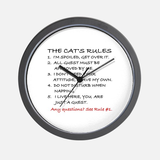 THE CAT'S RULES Wall Clock