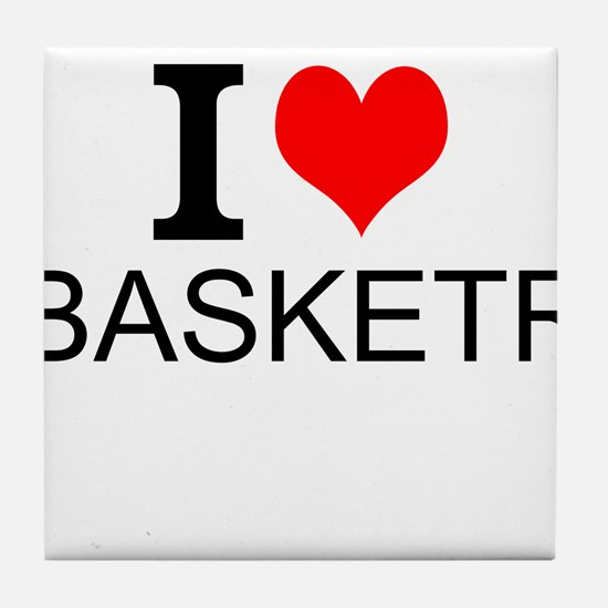 I Love Basketry Tile Coaster