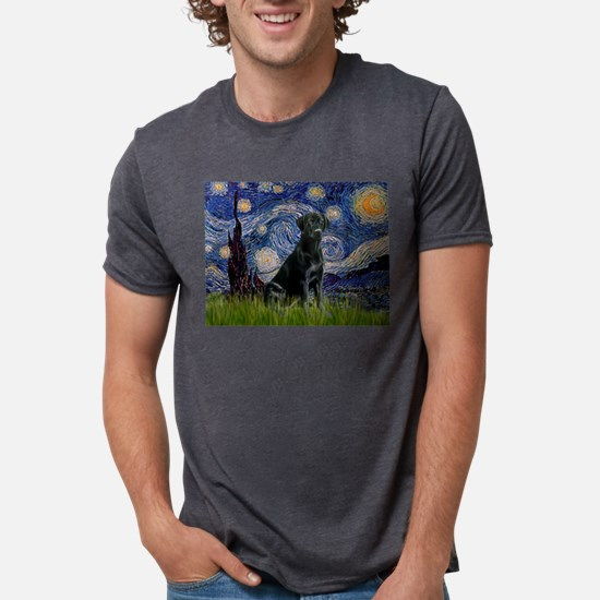 Starry Night with Black Labrador Ash Grey T-Shirt