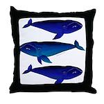 3 Bowhead Whales Throw Pillow