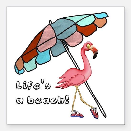 "Cute Flamingo Square Car Magnet 3"" x 3"""