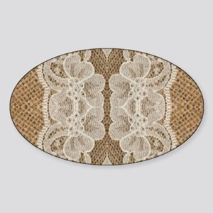shabby chic burlap lace Sticker