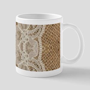 shabby chic burlap lace Mugs