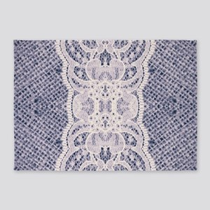 Country chic blue denim lace 5'x7'Area Rug