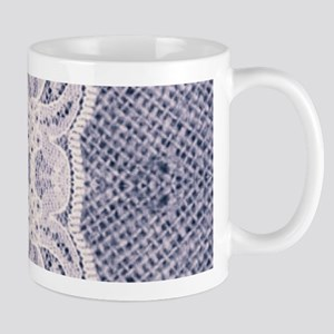 Country chic blue denim lace Mugs