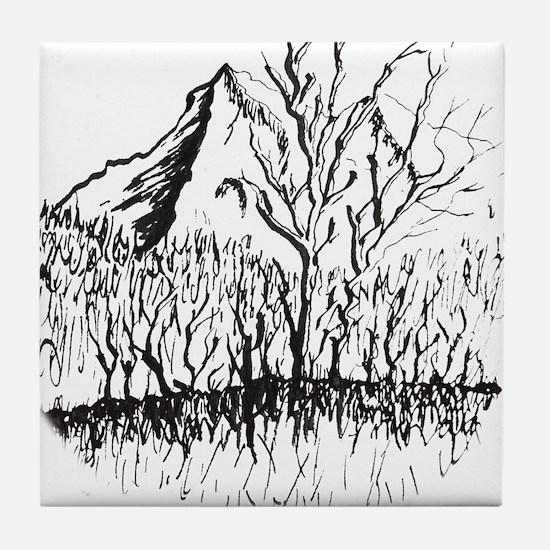 Deciphering Mountain Elegance Tile Coaster