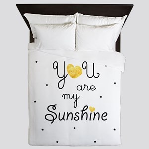 You are my sunshine - gold Queen Duvet