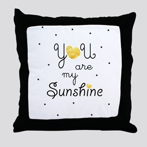 You are my sunshine - gold Throw Pillow