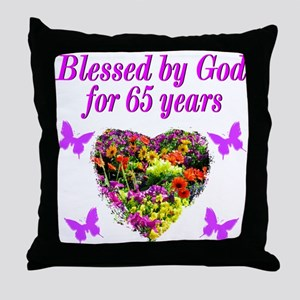 BLESSED 65TH Throw Pillow
