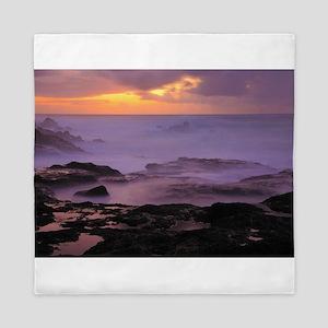 Seascape at sunset Queen Duvet