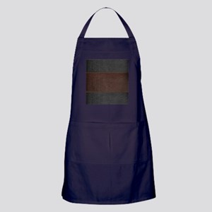 Brow And Black Vintage Leather Look Apron (dark)