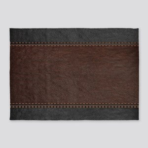 Brow And Black Vintage Leather Look 5'x7'Area Rug