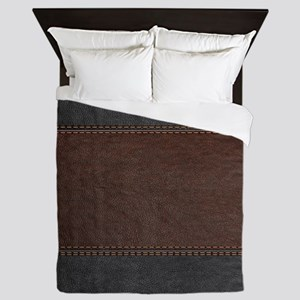 Brow And Black Vintage Leather Look Queen Duvet