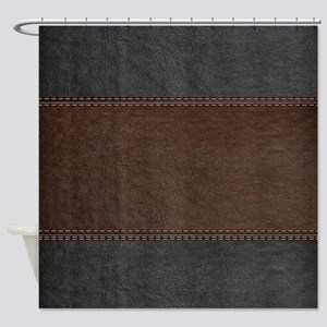Brow And Black Vintage Leather Look Shower Curtain