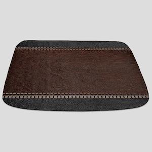 Brow And Black Vintage Leather Look Bathmat