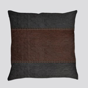 Brow And Black Vintage Leather Loo Everyday Pillow