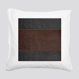 Brow And Black Vintage Leathe Square Canvas Pillow