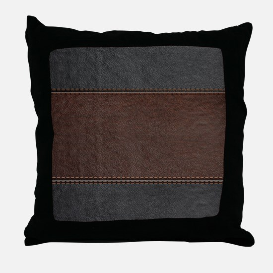 Brow And Black Vintage Leather Look Throw Pillow
