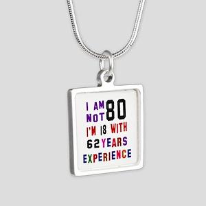 80 Birthday Designs Silver Square Necklace