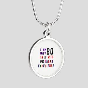 80 Birthday Designs Silver Round Necklace