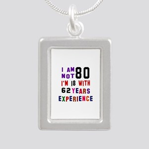 80 Birthday Designs Silver Portrait Necklace