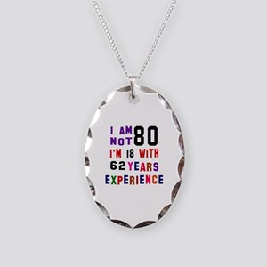 80 Birthday Designs Necklace Oval Charm
