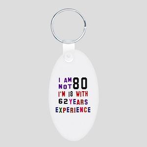 80 Birthday Designs Aluminum Oval Keychain