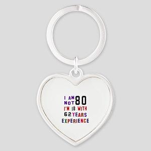 80 Birthday Designs Heart Keychain