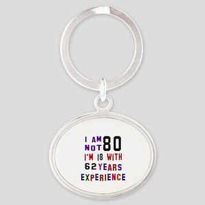 80 Birthday Designs Oval Keychain