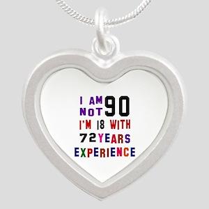 90 Birthday Designs Silver Heart Necklace