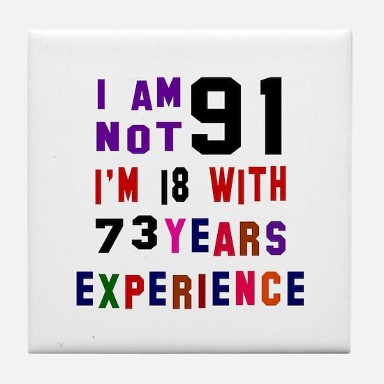 91 Birthday Designs Tile Coaster