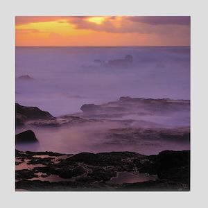 Seascape at sunset Tile Coaster