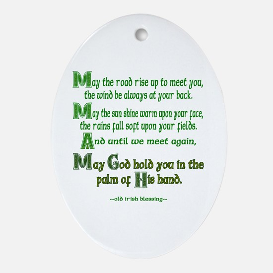 "Irish Blessing ""May the Road"" Oval Ornament"